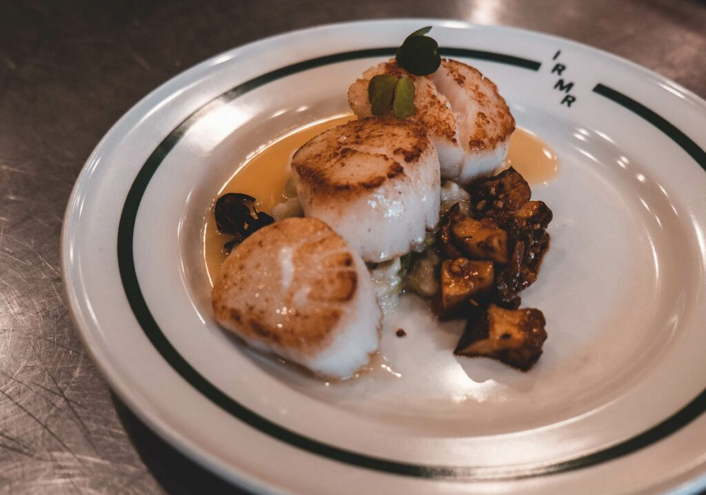 Gourmet scallop dinner served at our idaho rocky mountain ranch in Stanley.