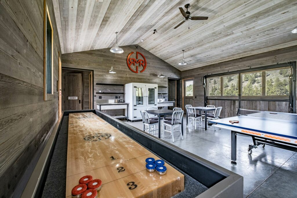 Idaho Rocky Mountain Ranch lodge complete with shuffle board and ping pong, all family friendly and inviting