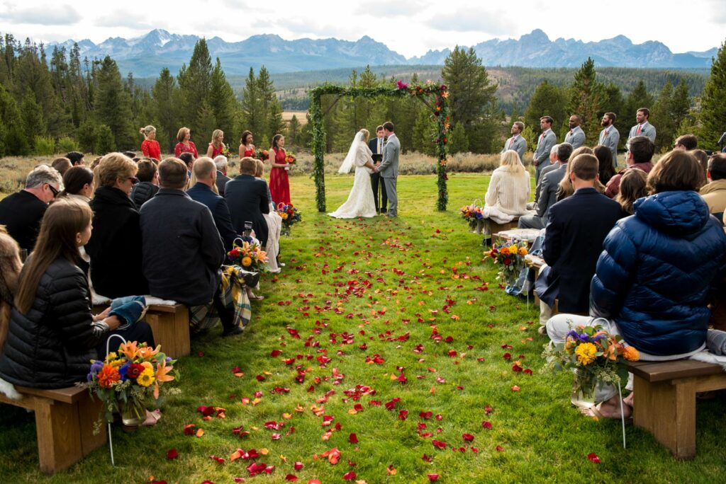 a romantic idaho wedding venue in the sawtooth mountains at Idaho Rocky Mountain Ranch
