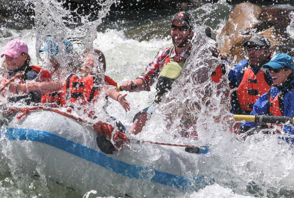 A family whitewater river rafting guided rafting trip on an idaho river